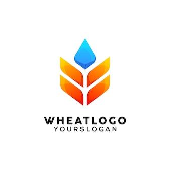 Modèle de conception de logo coloré de blé