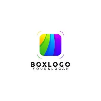 Modèle de conception de logo coloré de boîte