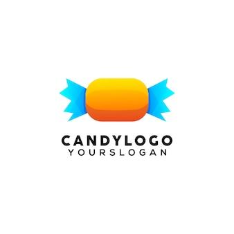 Modèle de conception de logo coloré de bonbons