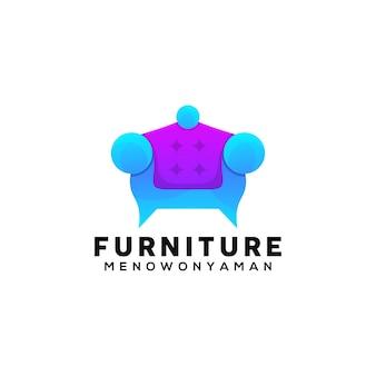 Modèle de conception de logo coloré de canapé