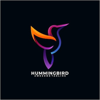 Modèle de conception de logo coloré colibri