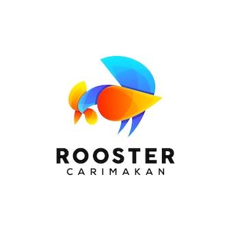 Modèle de conception de logo coloré de coq