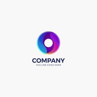 Modèle de conception de logo coloré dégradé cercle abstrait vague.