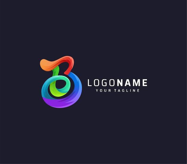 Modèle de conception de logo coloré dégradé lettre b