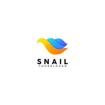 Modèle de conception de logo coloré escargot