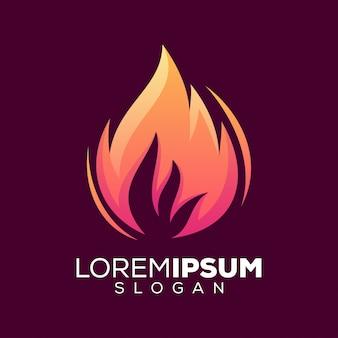 Modèle de conception de logo coloré de feu