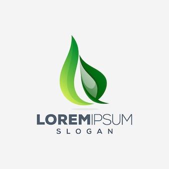 Modèle de conception de logo coloré feuille