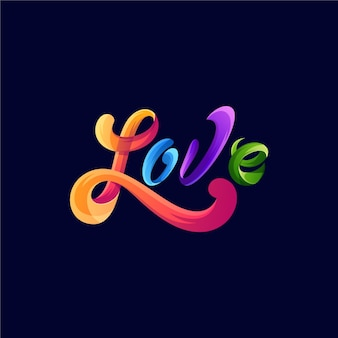 Modèle de conception de logo coloré génial amour typographie