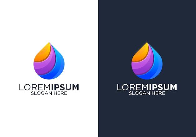 Modèle de conception de logo coloré goutte à goutte