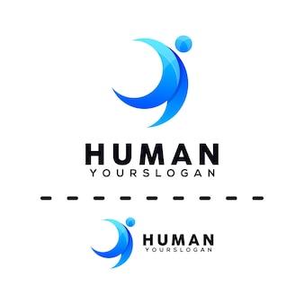 Modèle de conception de logo coloré humain