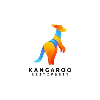 Modèle de conception de logo coloré kangourou