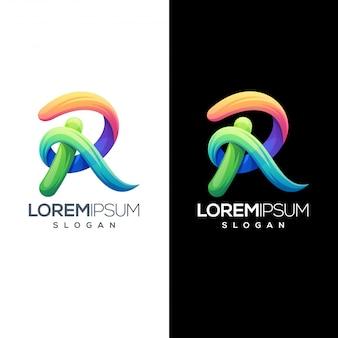 Modèle de conception de logo coloré lettre r