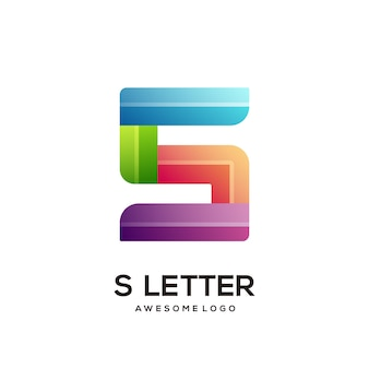 Modèle de conception de logo coloré lettre s moderne