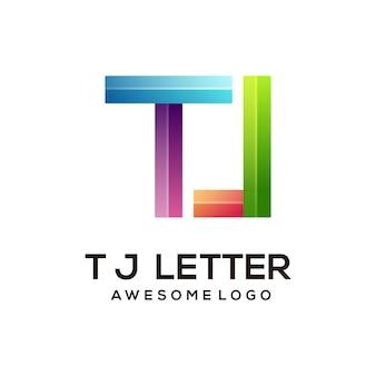Modèle de conception de logo coloré lettre tj moderne