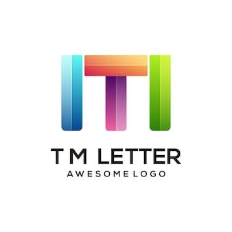 Modèle de conception de logo coloré lettre tm moderne