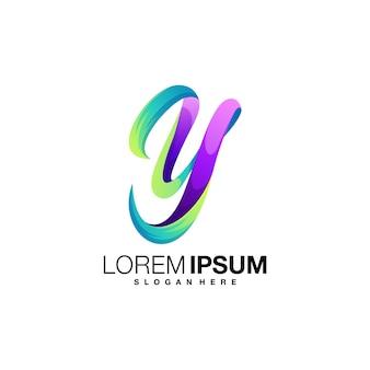 Modèle de conception de logo coloré lettre y