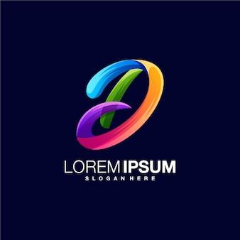 Modèle de conception de logo coloré lettre d