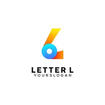 Modèle de conception de logo coloré lettre l
