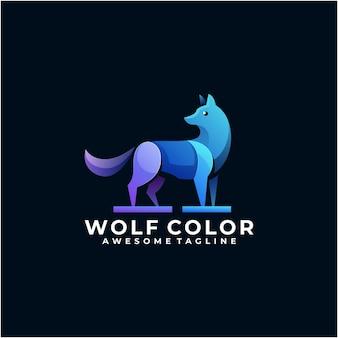 Modèle de conception de logo coloré de loup