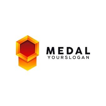 Modèle de conception de logo coloré de médaille