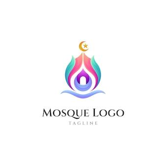 Modèle de conception de logo coloré de mosquée