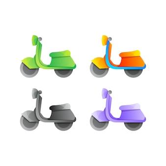 Modèle de conception de logo coloré de moto créative