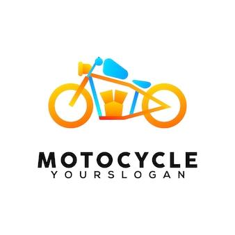 Modèle de conception de logo coloré de moto