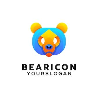 Modèle de conception de logo coloré ours