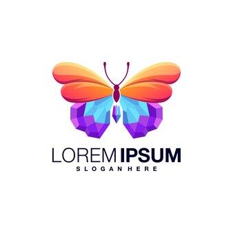 Modèle de conception de logo coloré papillon