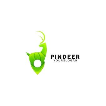 Modèle de conception de logo coloré pin deer