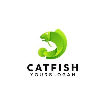 Modèle de conception de logo coloré poisson chat