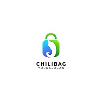 Modèle de conception de logo coloré de sac de chili