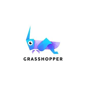 Modèle de conception de logo coloré de sauterelle