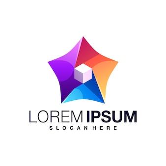 Modèle de conception de logo coloré star box