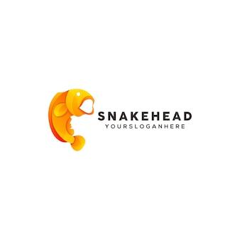 Modèle de conception de logo coloré tête de serpent