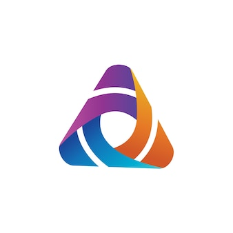 Modèle de conception de logo coloré triangle