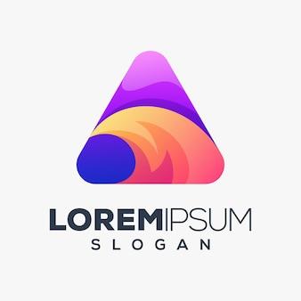 Modèle de conception de logo coloré triangle