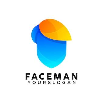 Modèle de conception de logo coloré visage homme