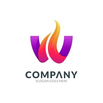 Modèle de conception de logo de la combinaison de la lettre w avec le feu