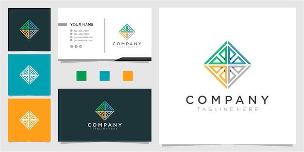 Modèle de conception de logo de communauté ligne colorée avec carte de visite