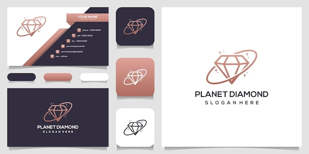 Modèle de conception de logo de concept de planète créative diamant et conception de carte de visite