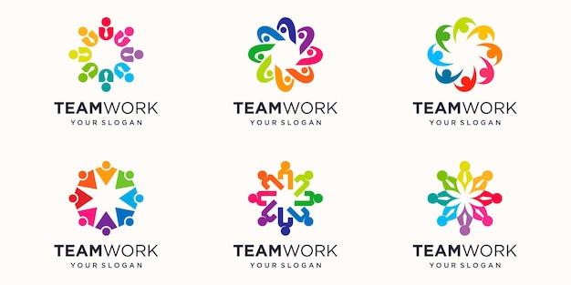 Modèle de conception de logo de concept de travail d'équipe créative