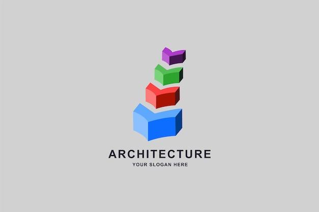 Modèle de conception de logo de construction 3d ou d'escaliers