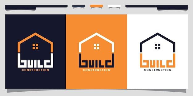 Modèle de conception de logo de construction de bâtiments avec un style d'art au trait vecteur premium