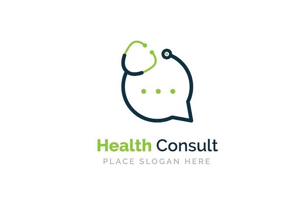 Modèle de conception de logo de conversation de docteur. stéthoscope isolé sur le symbole du chat à bulles.