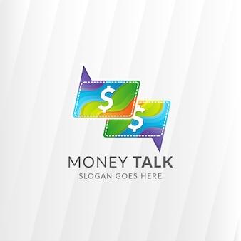Modèle de conception de logo de conversation dollar. style de vague colorée.