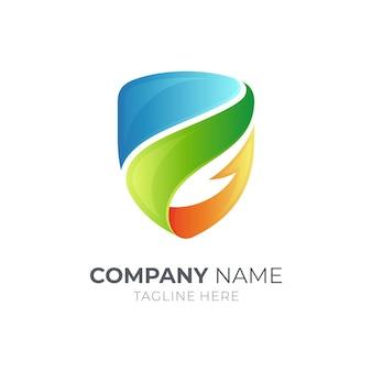 Modèle de conception de logo couleur bouclier