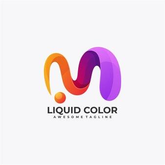 Modèle de conception de logo de couleur liquide