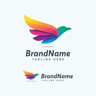 Modèle de conception de logo couleur premium aigle coloré abstrack