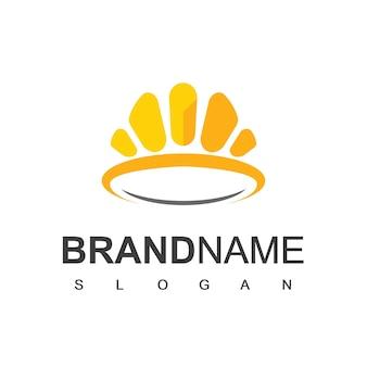 Modèle de conception de logo de couronne d'or